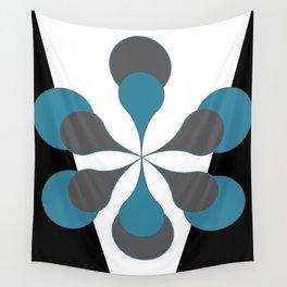 Mid-Century Modern Art 1.4B Grey Aqua Flower Wall Tapestry
