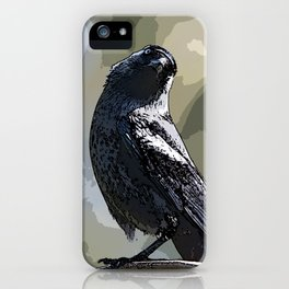 Quizzical Jackdaw #Bird #Jackdaw #Digitalart iPhone Case