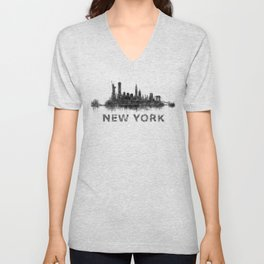 NY New York City Skyline NYC Black-White Watercolor art Unisex V-Neck