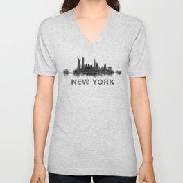 NY New York City Skyline NYC Black-White Watercolor art Unisex V-Neck