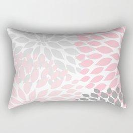 Pink Gray Dahlia Floral Rectangular Pillow