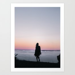Camera Girl Above the Clouds Art Print