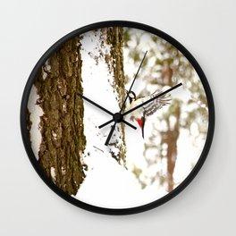 Woodpecker In Forest Wall Clock