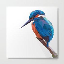 Kingfisher - Low poly digital art Metal Print