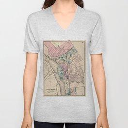Vintage Map of Trenton NJ (1872) Unisex V-Neck