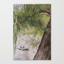 Boat on Lake in Central Park Canvas Print