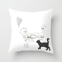 Black and white cats Throw Pillow