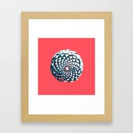 pine cone pattern in coral, aqua and indigo Framed Art Print