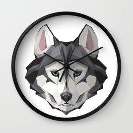 Triangular Geometric Siberian Husky Head Wall Clock
