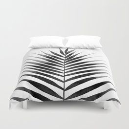 Palm Leaf Watercolor | Black and White Duvet Cover