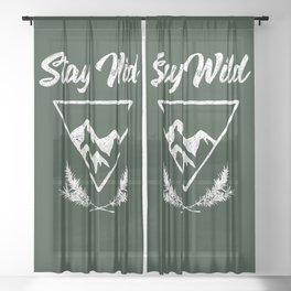 stay wild typography mountain print Sheer Curtain