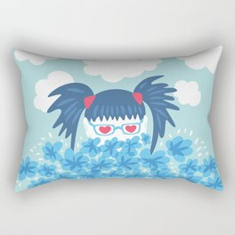 Geek Girl With Heart Shaped Eyes And Blue Flowers Rectangular Pillow