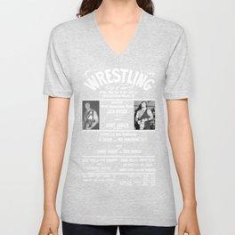 #1-B Memphis Wrestling Window Card Unisex V-Neck