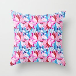 Vector seamless pattern beautiful pink lotus flowers on a black background Throw Pillow