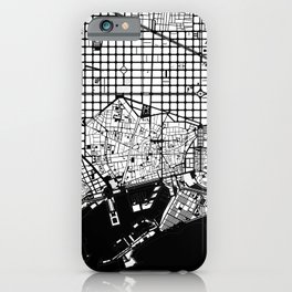 Barcelona city map black and white iPhone Case