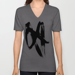 Brushstroke 2 - simple black and white Unisex V-Ausschnitt