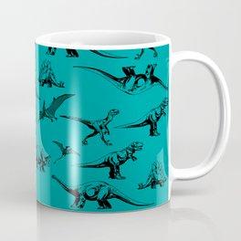 Dinosaur on Teal Background Coffee Mug