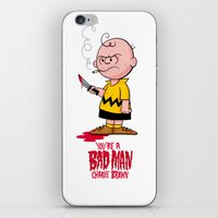 charlie brown iPhone & iPod Skins featuring You're a Bad Man Charlie Brown by Chris Piascik