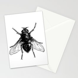black and white fly Stationery Cards