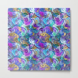 Abstract Swirls Deep Rich Jewel Tones with White and Gold Accent Digital Design Metal Print
