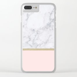 Marble Gold Blush Pink Pattern Clear iPhone Case
