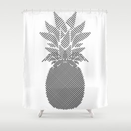 Black and White Pattern Pineapple Artwork Shower Curtain