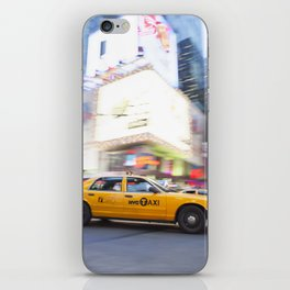 Yellow taxi cab in times square iPhone Skin