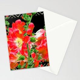 Red Orange Holly Hocks Pattern Black Color Floral Art Stationery Cards