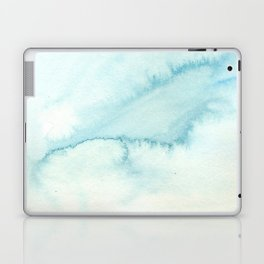 Abstract hand painted blue teal watercolor paint pattern Laptop & iPad Skin
