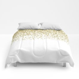 Sparkling gold glitter confetti on simple white background - Pattern Comforters