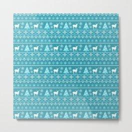 Blue Nordic Pattern  Metal Print