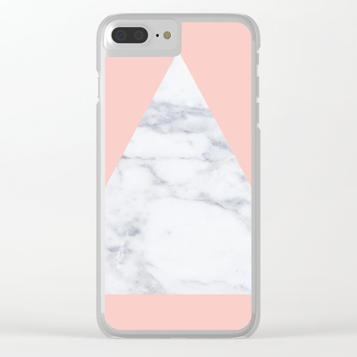 Blush marble triangle Clear iPhone Case