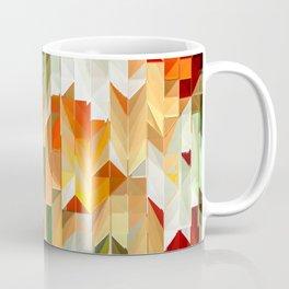 Geometric Tiled Orange Green Abstract Design Coffee Mug