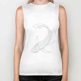 koi - one line fish art with colours Biker Tank