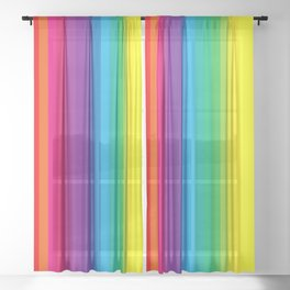 Rainbow Stripes I Sheer Curtain