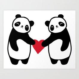 Panda Love  panda bear in love Art Print
