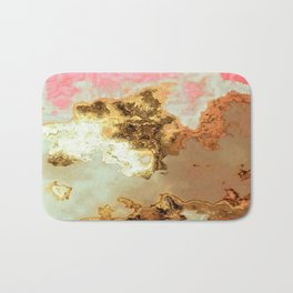 gold pink beige brown grey white abstract marbled painting Bath Mat