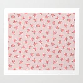 Crazy Happy Uterus in Pink, small repeat Art Print