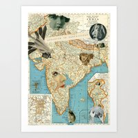 india Art Prints featuring India by Ubik Designs