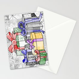 Coloured Christmas Presents Stationery Cards
