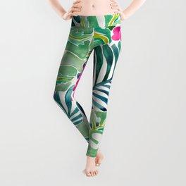 Lush Tropical Fronds & Hibiscus Leggings