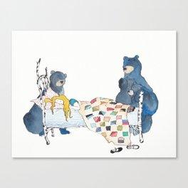 The Bears and Goldilocks Canvas Print