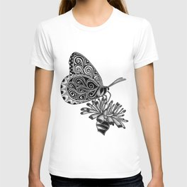 Tangled Butterfly on White T-shirt