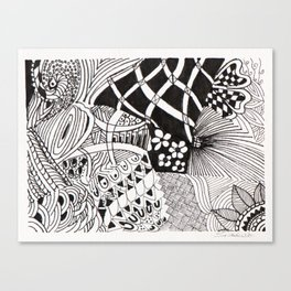 Black and White  -Pen & Ink Canvas Print