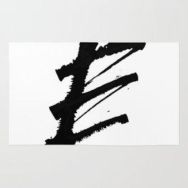 Letter E Ink Monogram Rug