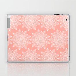 Pastel coral white hand drawn mandala flowers pattern Laptop & iPad Skin