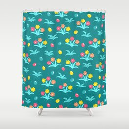 Easter Flower Pattern With Tiny Easter Eggs Shower Curtain