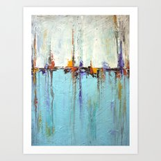 "Abstract White and Blue Painting – Textured Art – ""Sailing""  Art Print"