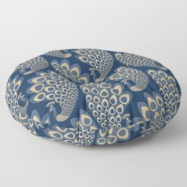 Blue and Gold Art Deco Peakock Floor Pillow