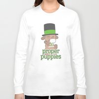 puppies Long Sleeve T-shirts featuring Proper Puppies by Jillian Story (TalaSeba)